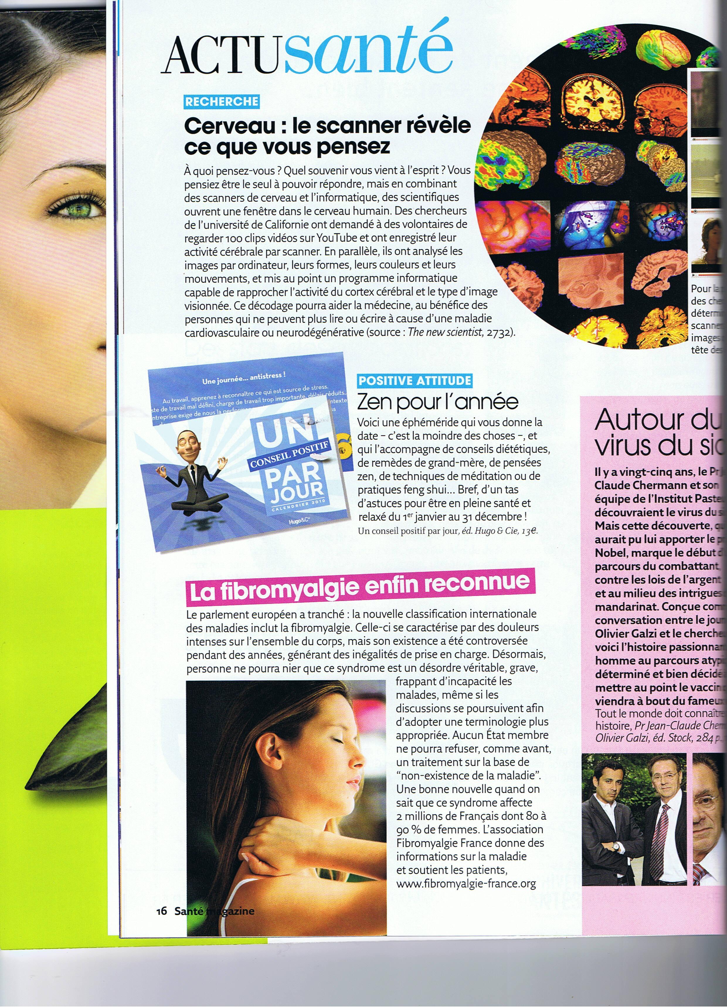 article de sante magazine de décembre 2009
